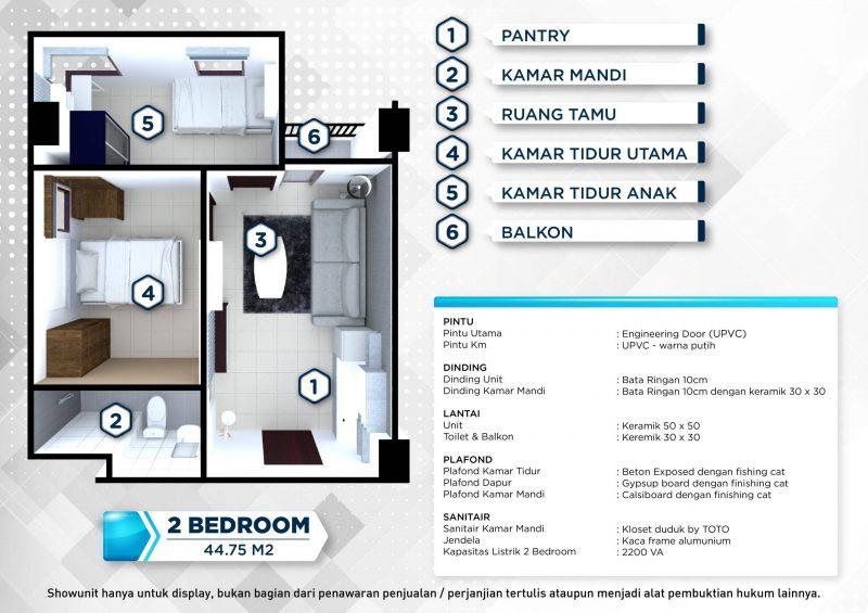 Floorplan dan Spesifikasi 2 Bedroom