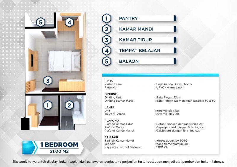 Floorplan dan Spesifikasi 1 Bedroom